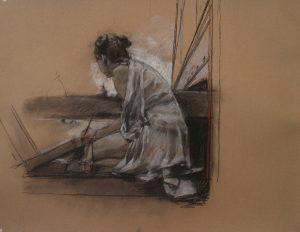 Artist model painting