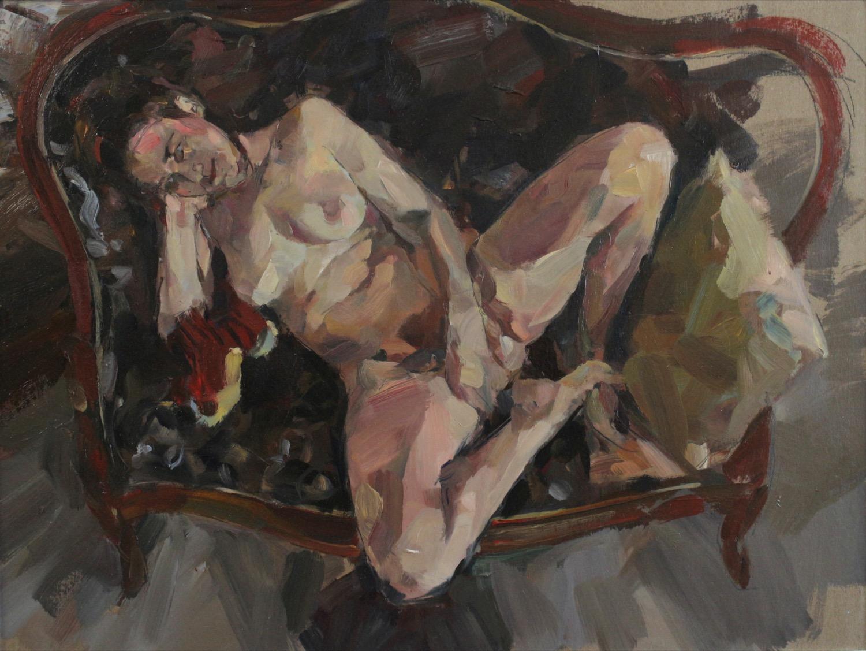 Woman on settee