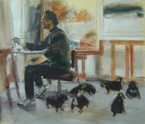Study; self portrait with puppies