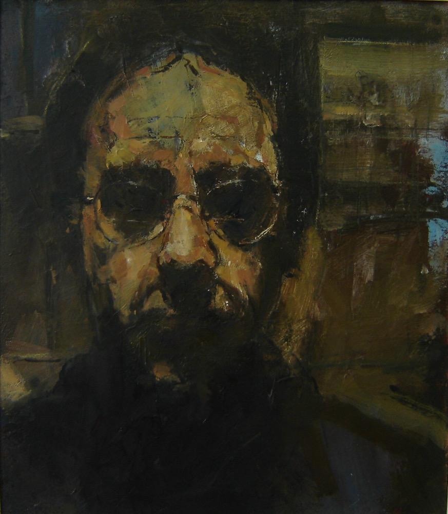 Self portrait in dark mirror