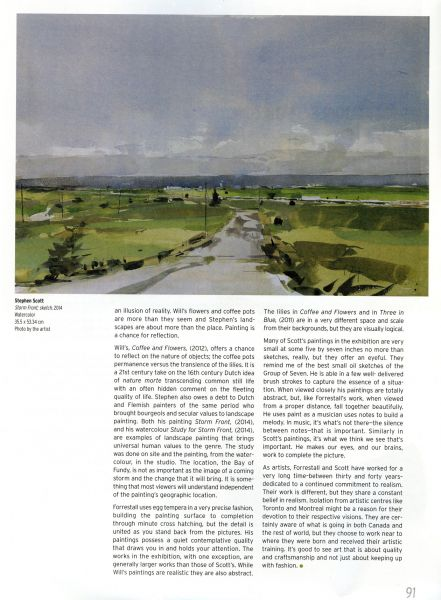 Vie des arts, The Reflective Gaze page layout featuring Stephen Scott painting