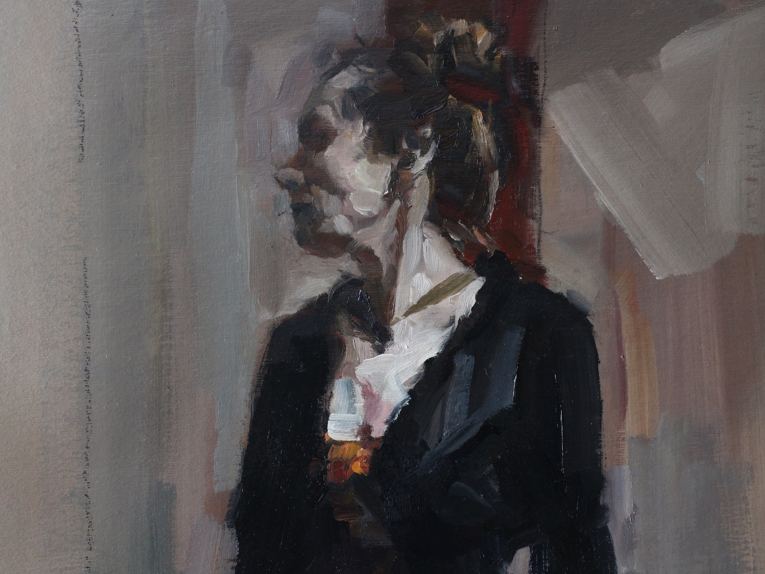 woman in profile standing