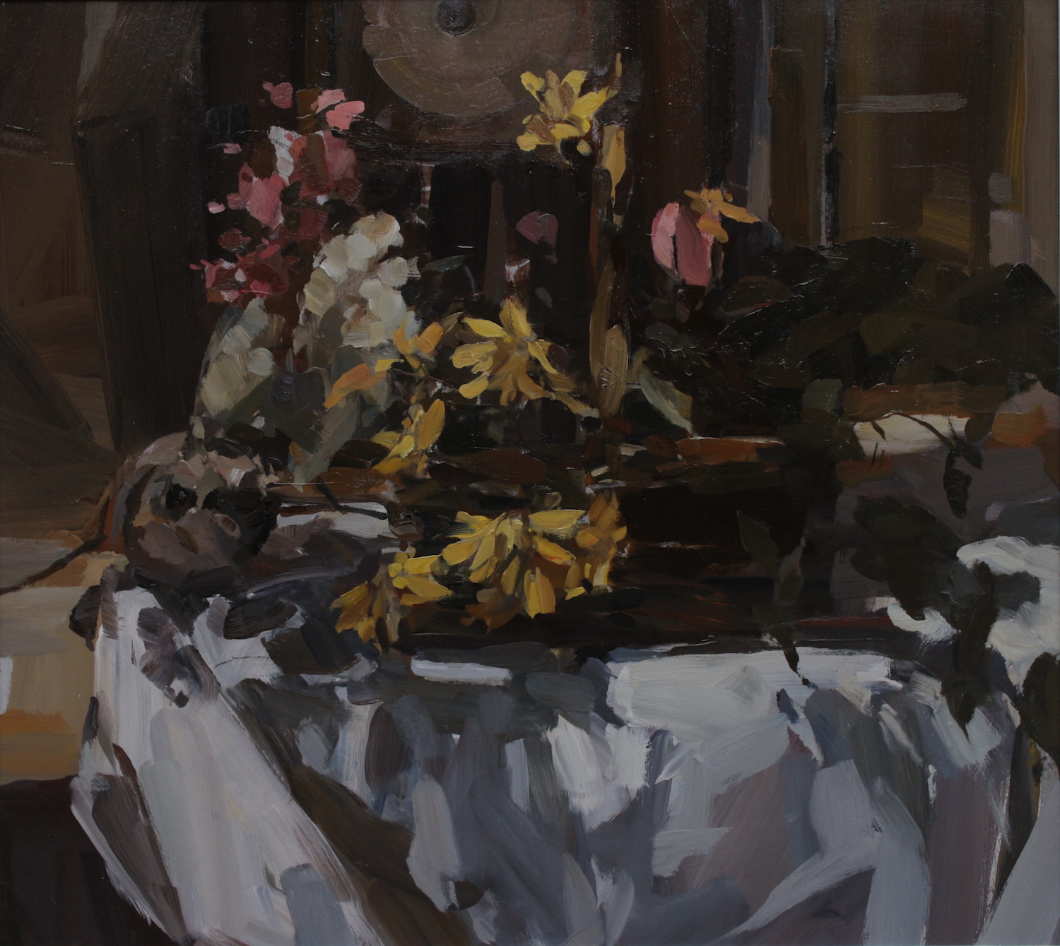 still life with flowers and clock 1